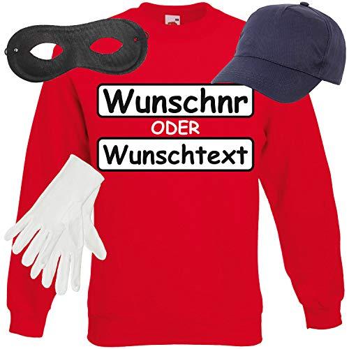Weiblichen Der Gruppe Kostüm - Shirt-Panda Unisex Sweatshirt Panzerknacker Kostüm + Cap + Maske + Handschuhe Verkleidung Karneval SET15 Sweater/WN/Cap/Maske/Handschuhe L