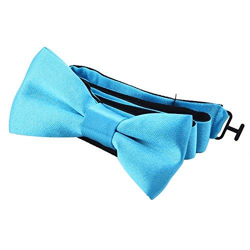 DonDon® Edle Kinder Fliege gebunden und längenverstellbar 9 x 4,5 cm türkis glänzend in Seiden Look