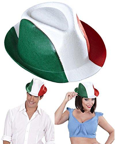 Hut fedoratricolore weiß rot grün Fans Italien PS 02106 (Grüner Hut, Hut Roter)