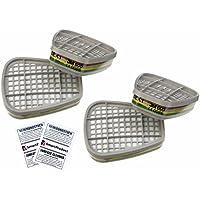3M Filtros 6059 ABEK1 para Mascarillas - Filtro de Gases y Vapores, 4 Unidades (2 Pares) + SmartProduct Hisopos de Alcohol 2 piezas – Bundle