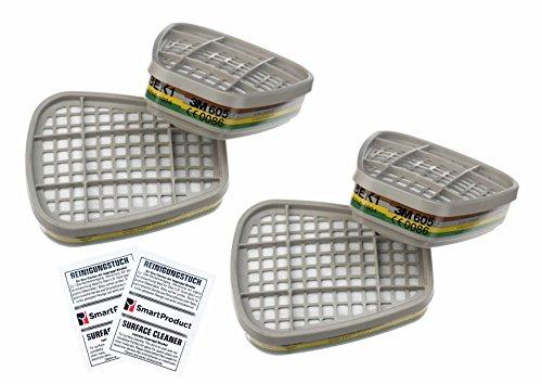3M 6059 Filter ABEK1 gegen organische Dämpfe und anorganische sowie saure Gase, Ammoniak (2 Paare / 4 Stück) + 2 x Reinigungstücher von SmartProduct – Bundle