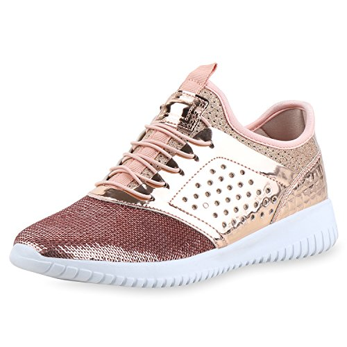 SCARPE VITA Damen Sportschuhe Pailletten Slip Ons Laufschuhe Fitness Sneaker 161701 Rose Gold Lack 37