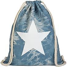 styleBREAKER bolsa de deporte hipster óptica vaquera con impresión de estrella en estilo batik desgastado,