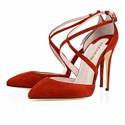 Kolnoo Damen Faschion Yaltaise Suede 100MM Cross Strap High Quality Sexy High Heels Schuhe Rot