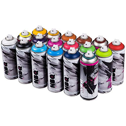 NBQ PRO 400 ml beliebtes Farben Set 18 Graffiti Street Art Wandbild Spray Paint ...