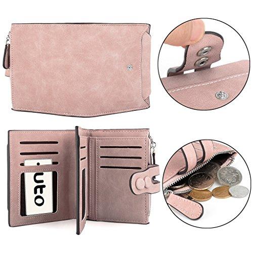 UTO Portafoglio Donna in Morbida Pelle Sintetica e RFID Blocco Facile e Sicurezza Tenere Euro,Moneta,Carta Piccola Borsa Rosa