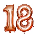 18 Luftballons Zahl mit Helium, HTBAKOI Luftballon 18 Geburtstag Rosegold 100cm (40 Zoll)Riesige Heliumballons als Dekoration Zum 18. Geburtstagsparty