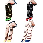 Z-Chen Kids Children Girls Boys Cotton Striped Knee High Socks, Assorted 4 Pairs