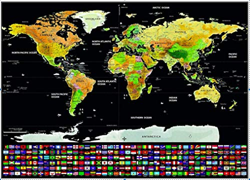 Dakos Scratch Off Travel World Map Wall Poster with Country Flags. Great Gift for Travelers. Large Size 82.5 x 59.5 cms. (Large)