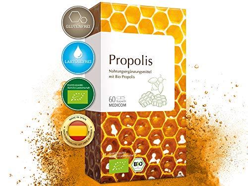 MEDICOM Bio Propolis Kapseln • biozertifiziert mit 400 mg gereinigter Bio Propolis pro Kapsel • reine Bienenkraft - 60 Stk -