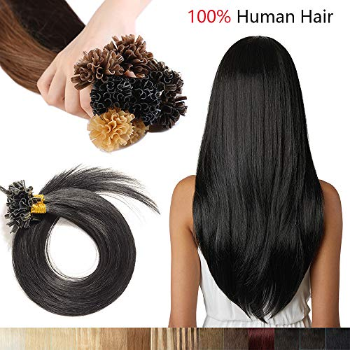 Extension capelli veri cheratina-100 ciocche punte piene u-tip 40cm 50g/set #1 nero lucente