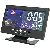 DIGOO DG TH-8082 Pantalla LCD Calendario Reloj digital Termómetro automático Pronóstico del tiempo 3 Piezas, 5 Piezas, 10 Piezas Color Negro