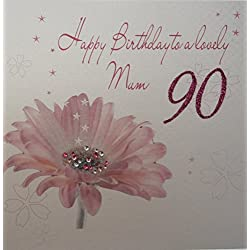 ToyCentre white cotton cards Happy 90th Birthday to a Lovely Mum Handmade Card Pink Gerbera Flower