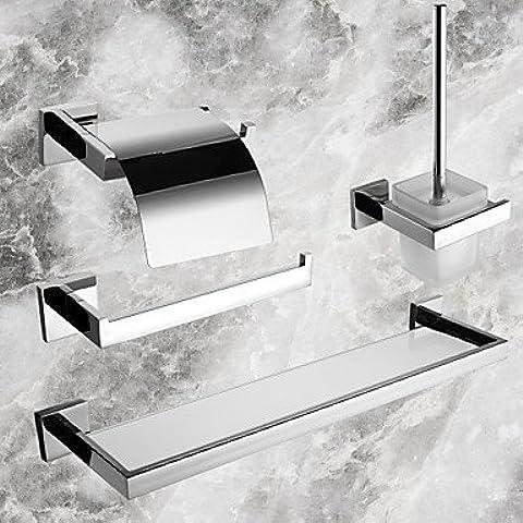 ZDQ- Juego de 4 piezas colección de baño, acabado pulido material de acero inoxidable espejo contemporáneo, juegos de accesorios de baño , Silver
