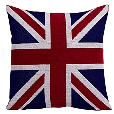 EHC 18 x 18-inch Union Jack Chenille Cushion Cover - cheap UK light shop.