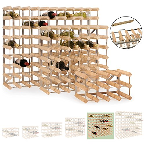 Modular wine rack system TREND for 72 bottles, solid pine wood, light oak, stackable / expandable - H 82.5 x W 82.5 x D 22.8 cm