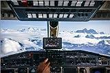 Leinwandbild 180 x 120 cm: Flugzeug-Cockpit - Fliegen über Berggipfel im Himalaya von Alejandro Moreno de Carlos - fertiges Wandbild, Bild auf Keilrahmen, Fertigbild auf echter Leinwand, Leinwanddr...