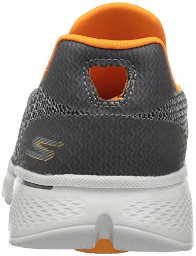 Skechers Go Walk 4, Baskets Basses Homme Gris anthracite/orange