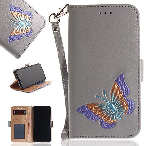 Ooboom® iPhone X Hülle Schmetterling Muster Flip Folio PU Leder Schutzhülle Handy Tasche Case Cover Wallet Ständer Kartensteckplätzen Trageschlaufe - Grau