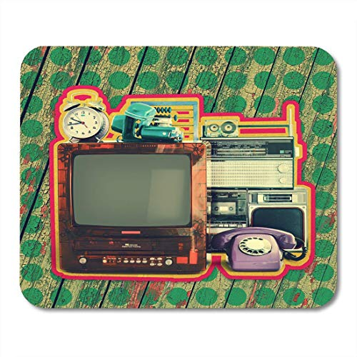 Deglogse Gaming-Mauspad-Matte, Retro White Appliances Old Household Items Tv VCR Radio Camera Alarm Phone Recorder Abacus Nostalgia Mouse Pad
