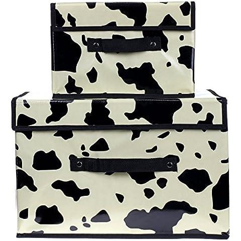 HIMRY, Set di 2 contenitori pieghevoli, traspiranti, per calzini biancheria ecc., con coperchio, 38 x 25 cm e 26 x 20 x 17 cm, KXB1021 Mucca