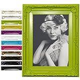 Bilderrahmen Fotogalerie #51 , Kunststoff Rahmen , Glas Vorderseite , Antik Barock , zum Aufstellen im Querformat und Hochformat , 12 Farben in 5 Größen (Grün , 10x15)