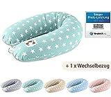 Sei Design Stillkissen Set, Schwangerschaftskissen 190 x 30 cm + 1x extra Stillkissenbezug, Sterne Mint-Grün