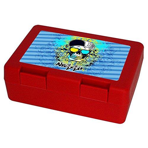 Eurofoto Brotdose mit Namen Alessio und schönem Motiv mit Totenkopf für Jungen   Brotbox rot - Vesperdose - Vesperbox - Brotzeitdose mit Vornamen