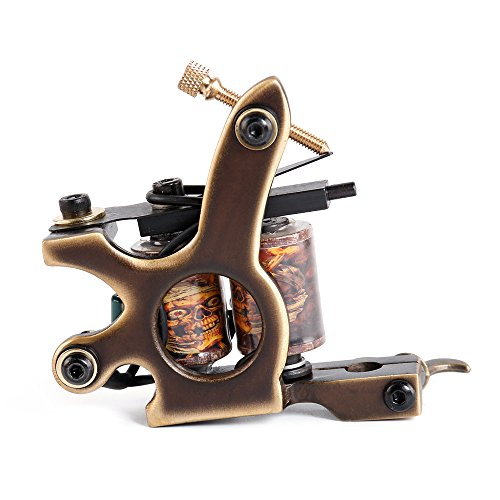 Solong Tattoo® Tattoo Maschine Custom Messing Gun Handmade 10 Wraps Pure Kupfer Coils für Shader M204-2 (Handmade Tattoo Maschine)