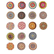 100 botones de madera de colores mezclados de 25 mm, 2 agujeros al azar,