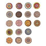 100 botones de madera de colores mezclados de 25 mm, 2 agujeros al azar, diseño de flores, para manualidades de costura
