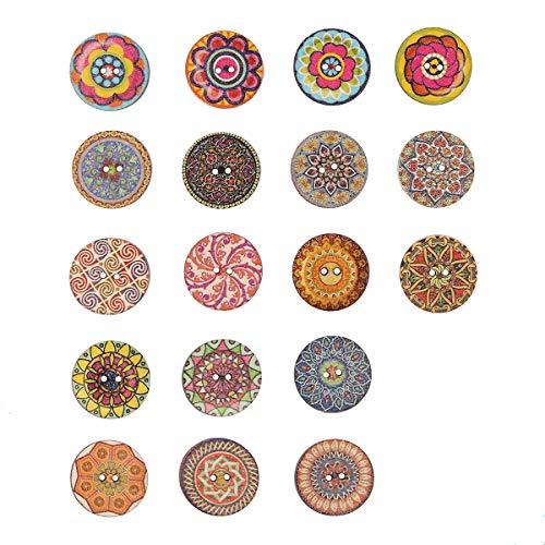 Holzknöpfe, 100 Stück, gemischte Farben, 25 mm, 2 Löcher, zufällige Blumenbemalung, dekorative Holzknöpfe für Näh- und Bastelarbeiten (Dekorative Windel-pins)