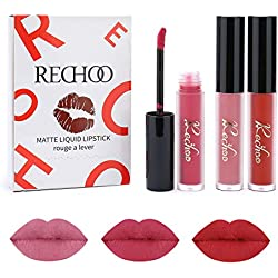 Rechoo Beauty Sexy 3 Pcs Labiales Mate Larga Duracion Maquillaje Impermeable Pintalabios Matte Liquid Lipstick Set (F)