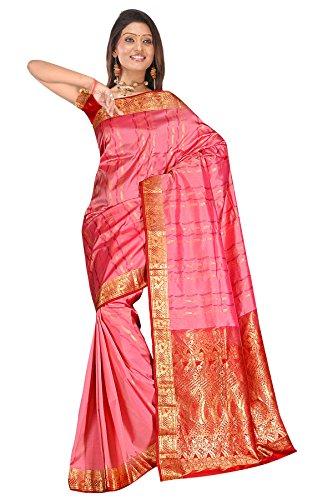 Pink & Maroon zari work embroidered pure kanjivaram silk sarees