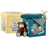 2 tlg Sitzhocker Set für Kinder, faltbar, mit Stauraum, Aufbewahrungsbox mit Deckel, HxBxT 38 x 38 x 38 cm, Bär u. Tiger - preisvergleich