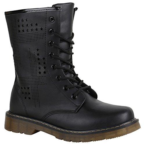 Derbe Damen Stiefeletten Worker Boots Schnürstiefel Cut-Outs 151707 Schwarz Nieten 37 Flandell