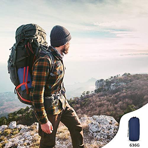 GEEDIAR Isomatte Camping aufblasbare Luftmatte mit Kissen 190x59x6 cm Farbe dunkel blau, ultraleicht tragbare Luftmatratze für Camping Ausflug Deppel Zelt inkl. kleinem Packsack - 7