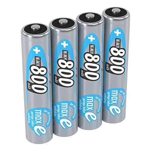ANSMANN Akku AAA Micro 800 mAh 1,2V NiMH 4 Stück für Geräte mit hohem Stromverbrauch - Wiederaufladbare Batterien maxE - Akkus für Spielzeug Fernbedienung Telefon Kamera uvm - Rechargeable Battery