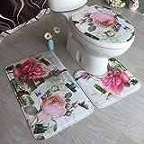 Artistic9(TM) 3-teilige Badezimmer-Sets, rutschfest, Badematte mit WC-Vorleger und WC-Deckelhülle, e, 50x80cm