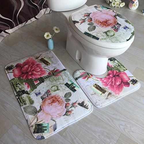 artistic9(TM) rutschfeste 3-teiliges Badezimmer-Sets, Badematte + WC-Vorleger + WC-Sitz Matte, e, 50x80cm Auto-lack-ständer