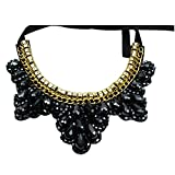 SODIAL(R)Women Rhinestone Vintage Chunky Collar Beaded Statement Necklace For Women Fashion Jewelry Accessories black