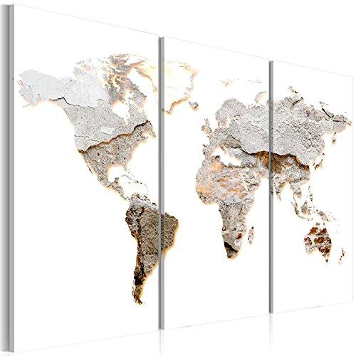 Quadro 90x60 cm - quadro su tela fliselina – 3 parti - quadro su tela fliselina - stampa in qualita fotografica – mappa del mondo mappa continente k-a-0084-b-e 90x60 cm b&d xxl