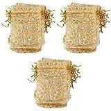 100pcs Bolsa Bolso de Regalo Caramelo Boda Pestañas Impresas Color Oro 9x12cm