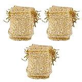 100pcs Goldenen Wimpern Organzabeutel Hochzeitsgeschenkbeutel 9x12cm