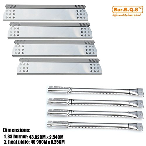 Bar. b.q.s 4er Pack Ersatz für Küchenhelfer 720–0733A, 4Brenner Gas Grill Brenner, Wärme Teller, Platte Edelstahl (Edelstahl-Brenner + Wärme Teller)