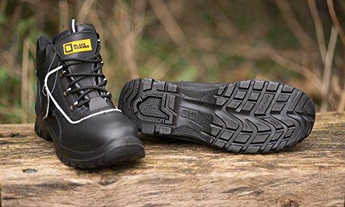 Männer Leder Sicherheitsstiefel Männer Sicherheitsstiefel S3 Stahlzehenkappe Arbeitsschuhe Fußgelenk Leder Black Hammer 7752 Schwarz