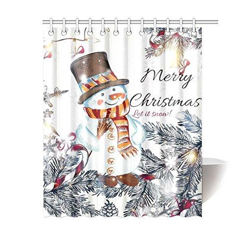 Weihnachten Schneemann Duschvorhang Badezimmer Zubehör, Winter urlaub Weihnachten Polyester-Szene-Set mit Haken, 152,4x 182,9cm, weiß, Textil, Multi 1, 60 X 72 inches