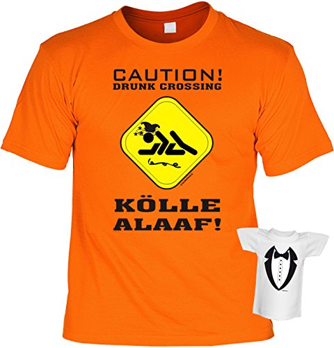 Fasching T-Shirt Karneval Caution Kölle Alaaf Fastnacht Shirt 4 Heroes geil bedruckt Geschenk Set mit Mini Flaschenshirt Orange