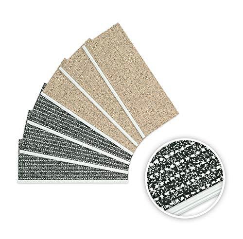 EXKLUSIV HEIMTEXTIL Outdoorsicherheitsstufenmatte mit Alu-Pressprofil Außenstufenmatte 1 Stück Anthrazit (Pfeffer Salz)