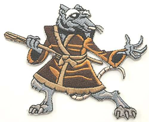 Master Splinter Patch TMNT bestickt Patches Applikation 9 cm Ratten Teenage Mutant Ninja Turtles Badge Kostüm Aufnäher Retro Cartoon Collectible Souvenir (Splinter Ninja Kostüm Turtles)